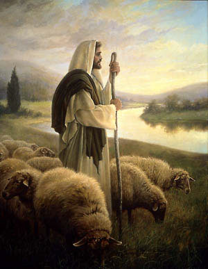 Jesus caring for His sheep